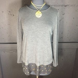 J. Crew gray knit top with metallic gold dots.